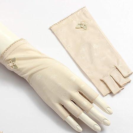 Yifuty Primavera Mitad-dedo sin dedos de hielo de seda de ...