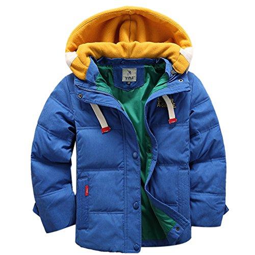 OMSLIFE Winterjacke für Kinder Jungen Mädchen verdickte Daunenjacken Mantel Trenchcoat Outerwear mit Kapuzen (141cm-150cm, blau)