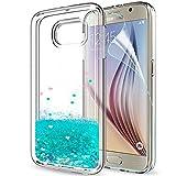LeYi Compatible with Funda Samsung Galaxy S6 Silicona Purpurina Carcasa con HD Protectores de Pantalla,Transparente Cristal Bumper Telefono Gel TPU Fundas Case Cover para Movil S6 ZX Turquoise