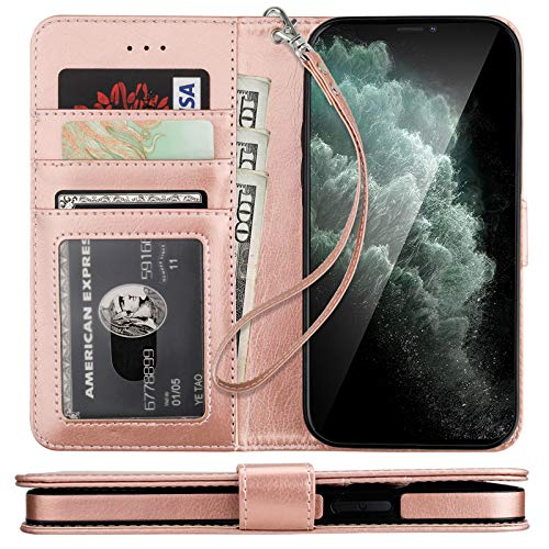 Bocasal Compatible with iPhone 12 Pro Max Wallet Case with Card Holder PU Leather Kickstand Shockproof Protective Wrist Strap Flip Cover 6.7 inch (Rose Gold)