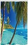 ABAKUHAUS Tropisch Schmaler Duschvorhang, Palmen, Meer, Strand, Badezimmer Deko Set aus Stoff mit Haken, 120 x 180 cm, Türkis Blau