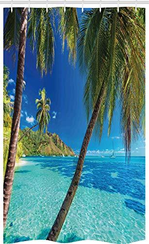 ABAKUHAUS Tropisch Schmaler Duschvorhang, Palmen Meer Strand, Badezimmer Deko Set aus Stoff mit Haken, 120 x 180 cm, Türkisblau