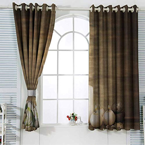 Spa Window Curtain Grommet Composition of Pure Candles Wooden Background with Stones and Flower Petals Print Blackout Drape for Dining Room 42x84 Inch
