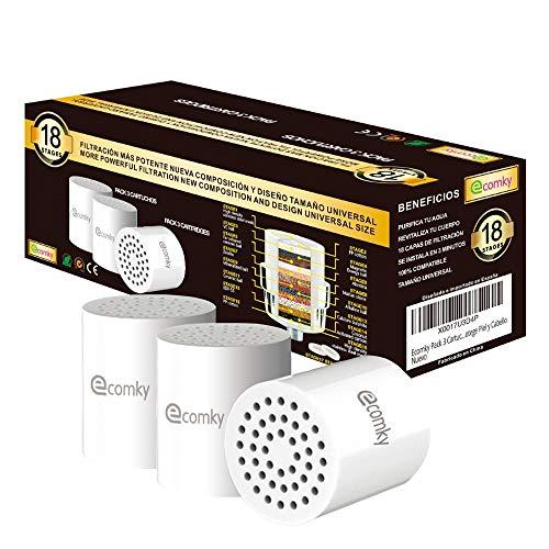Ecomky Spain Pack 3 Cartuchos Recambio Filtro Ducha Universal 18 Etapas Reemplazable...