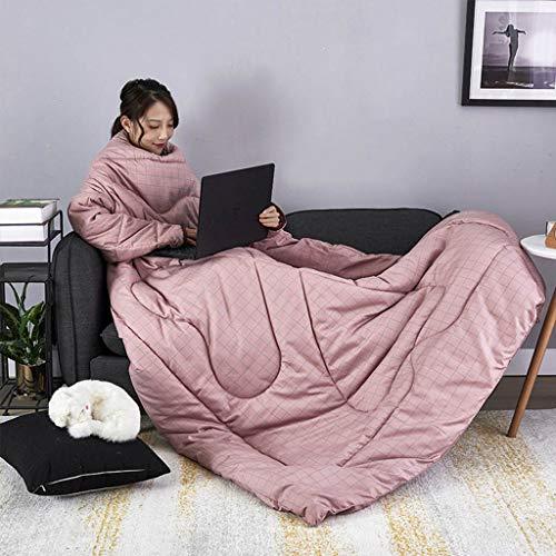 QIMO Draagbaar donsdeken met mouwen warm en gezellig, microzachte deken, tuniek voor dames en heren, winter.