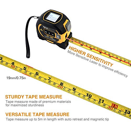 CO-Z 3 In 1 Digital Metric Laser Tape Measure, 5m Tape Measure 40m Laser Measure and 10m Cross Line, Laser Magnetic Tape with Laser Level, Electronic Measurement for Long Distance (Yellow (Upgraded))