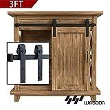 WINSOON 3FT Super Mini Sliding Barn Door Cabinet Hardware Kit for Single Door TV Stands Small Wardrobe Cabinets, J Shape Hanger (NO Cabinet)