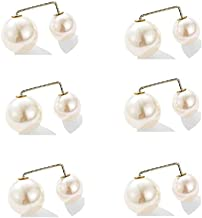 YTYC 6 Pairs of Fashionable Pearl brooches, Anti-Fade Neckline Size Artificial Pearl Safety pins, Used for Sweater Cardiga...