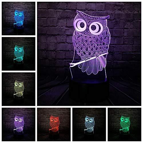 Luz nocturna 3D de ilusión, botón táctil con 7 colores de Halloween Navidad Halloween – Base ABS – Alimentado por USB – Ojos de ahorro de energía – Adecuado para sala de estar, bar fiesta