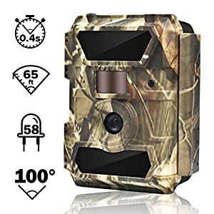 WingHome Trail Camera, 12MP 1080P Game Camera Night Vision No Glow, 0.4s Trigger Time Outdoor Wildlife Camera Motion Activated Waterproof, 58pcs IR LEDs Infrared Hunting Camera