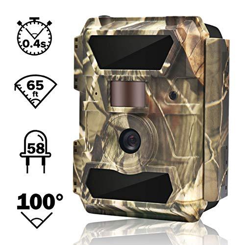 WingHome Wildkamera Fotofalle Full HD 12MP 1080P Überwachungskamera No Glow 20M Nachtsichtkamera mit Bewegungsmelder mit 2.4