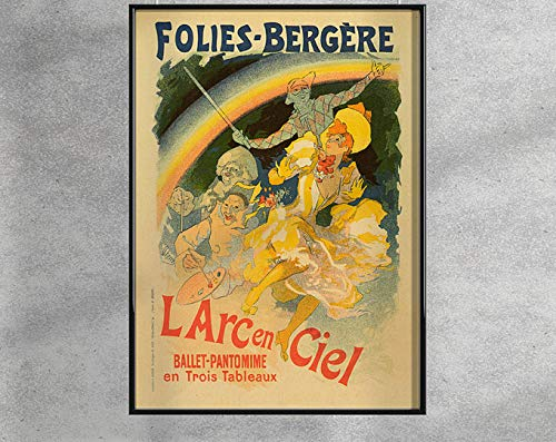 Folies Bergere II, Vintage Poster, Woman And Rainbow, Beige And Red, Wall Art, Reproduction, Retro Style #2013 | Poster No Frame Board For Office Decor, Best Gift For Family And Your Friends 11.7*16.5