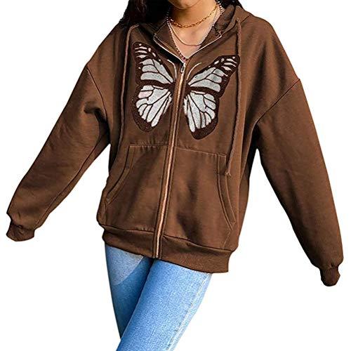 Minetom Chaqueta para Mujer Y2K Sudadera con Capucha Hip Hop Chaqueta Tipo Suéter De Mariposa Chaqueta con Capucha Chaqueta De Transición con Bolsillos A Marrón L