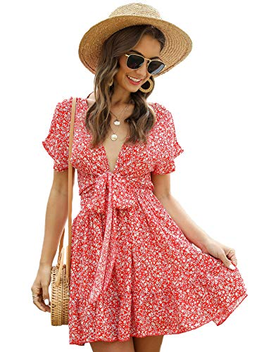 SheIn Women's Deep V-Neck Short Sleeve Tie Front Floral Print Ruffle Hem Dress Orange Small