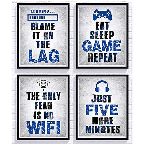 "SUUURA-OO Vidro Game Posters Set of 4 (8""X10""), Game Themed Art Print Room Wall Decoration, Boys Bedroom, Gamer gamer room, Kids room, No Frames"