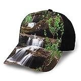 Gorra de béisbol estructurada, pequeñas cascadas fluyen en escaleras de roca rodeadas de plantas largas sombrero de tierra para papá para hombres y mujeres, perfil bajo ajustable