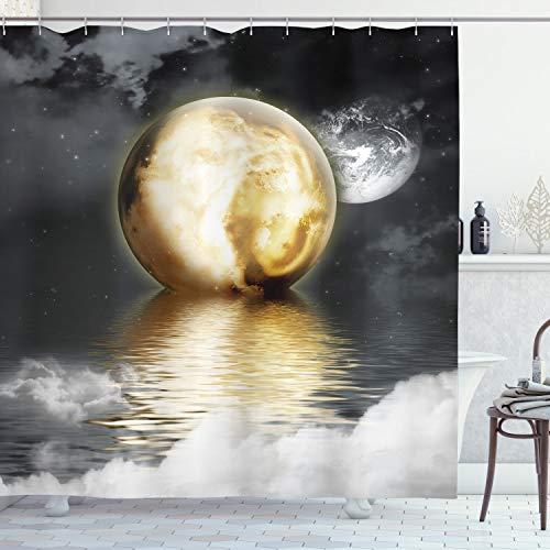 ABAKUHAUS Mond Duschvorhang, Wolken & Graustufen-Welt, Wasser Blickdicht inkl.12 Ringe Langhaltig Bakterie & Schimmel Resistent, 175 x 240 cm, Graues Pale Gelb Weiß