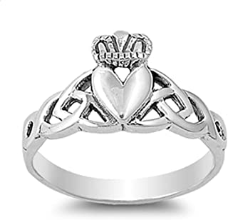Claddagh Celtic Knot Heart Filigree Ring New 925 Sterling Silver Band Sizes 4-10