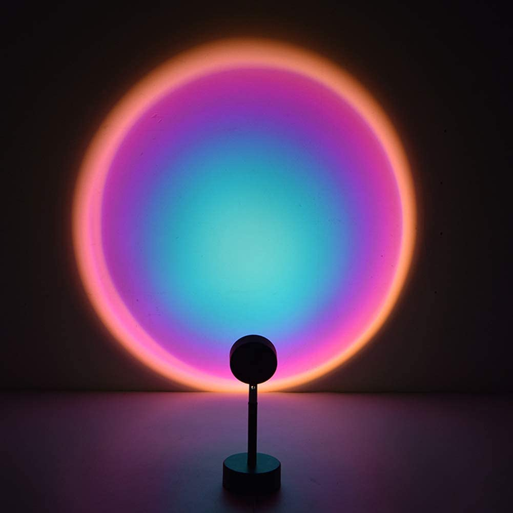 360 Degree Rotation Rainbow Sunset Projection Lamp USB Charging Romantic Led Light Rainbow Led Floor Lamp for Home Party Living Room Bedroom Decor Bleu robot Sunset Projection Led Light