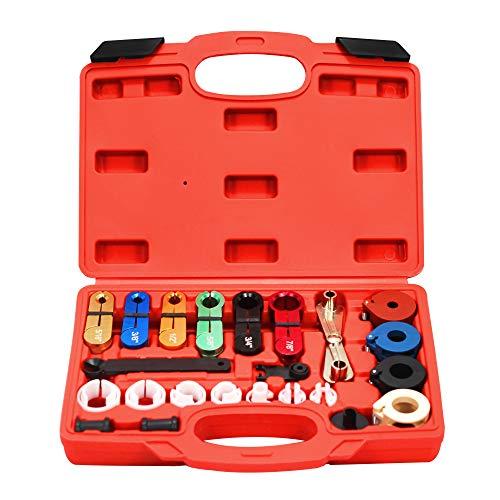 AutoWanderer Tool Kit de herramientas de desconexión rápida maestro de 22 piezas para herramienta de desconexión de línea de combustible de CA automotriz y línea de enfriador...