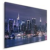 Feeby Frames, Quadro Pannelli, Pannello Singolo, Quadro su Tela, Stampa Artistica, Canvas 80x120 cm, Città, Notte, New York, Manhattan, sul Fiume Hudson, Neon, Blu, Scuro Blu