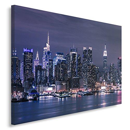 Feeby Frames, Cuadro en lienzo, Cuadro impresión, Cuadro decoración, Canvas de una pieza, 80x120 cm, CIUDAD, NOCHE, NUEVA YORK, MANHATTAN, HUDSON RIVER, NEÓN, AZUL, OSCURO AZUL