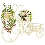 GOTOTOP Soporte de Planta de Metal Forma de Bicicleta Estantería Decorativa para Macetas Soporte de Flores para Exterior Interior Jardín 77 x 26 x 50 cm