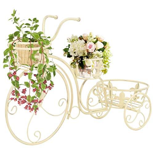 GOTOTOP Supporto per piante in metallo a forma di bicicletta, scaffale decorativo per vasi, supporto per fiori per esterni, interni, giardino, 77 x 26 x 50 cm