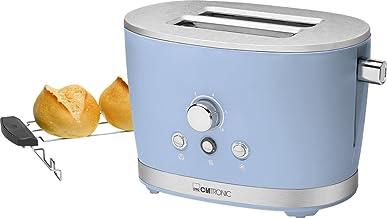 Clatronic TA 3690 Rock'n'Retro broodrooster met 2 sneden met broodjesopzetstuk, kruimellade, ontdooifunctie, opwarmfuncti...