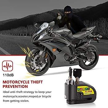 Linkax Cadenas antivol moto bloque-disque avec alarme sonore, 110 dB, alarme de frein à disque, antivol pour moto, vélo et scooter, verrouillage de sécurité avec 2 clés et câble de 1,5 m