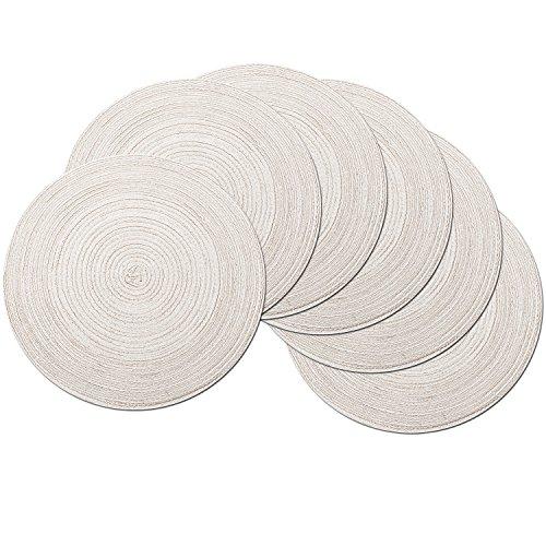 SHACOS runda bordstabletter uppsättning av 6 bordsunderlägg för matbord tvättbara värmebeständiga Set of 6 Mjölkig