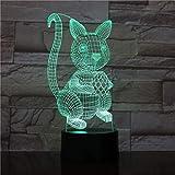 LED / 3D RGB Night Light/Lampe de table de conversion multicolore à 7 couleurs/Enfants avec USB/Lampe de table de bureau Rabbit-Rabbit-Rabbit
