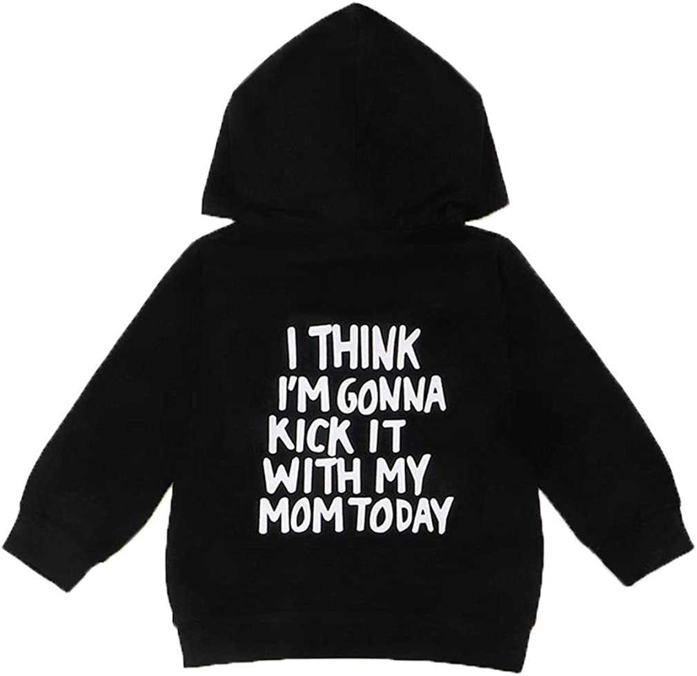 Funny Toddler Kids Baby Boy Girl Hooded Sweatshirt Casual Pullover Hoodies Top with Kangaroo Pocket Fall Clothes