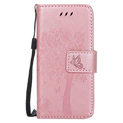 LODROC iPod Touch 7 2019/Touch 6 Hülle, TPU Lederhülle Magnetische Schutzhülle [Kartenfach] [Standfunktion], Stoßfeste Tasche Kompatibel für Apple iPod Touch 7/6/5 - LOKT0100184 Rosa Gold