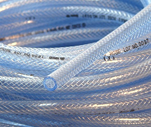 1 (25mm) ID 10 Ft High Pressure Braided PVC Tubing Clear Hose Braid Reinforced