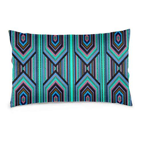 Lesif Samt-Kissenbezüge, rechteckig, weich, dekorativ, für Sofa, Schlafzimmer, Auto, 40,6 x 61 cm (mexikanische Inka, farbige Streifen)