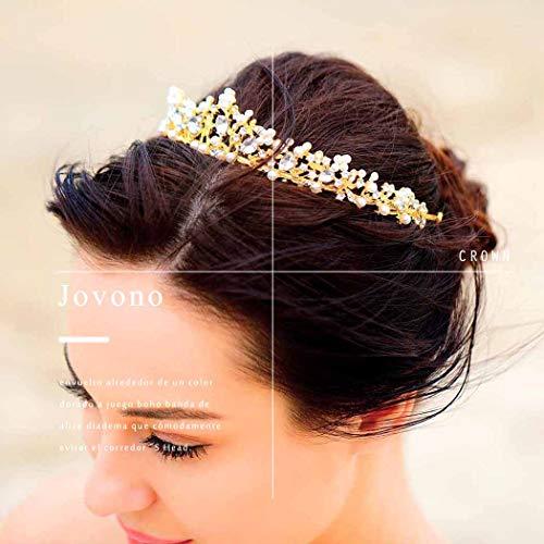 Jovono Hochzeitsset aus Krone und Tiara,  Brautschmuck, Goldkrone mit weißen Strasssteinen, Tiara für Damen