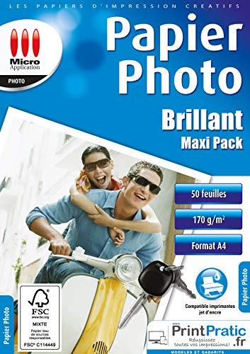 Papier Photo - Papier photo A4 - Feuille A4 - Papier imprimante - Tirage photo - Papier impression photo - Maxi Pack Feuilles Papier Photo Brillant A4-170 g/m² Papier Certifié FSC - 50 Feuilles