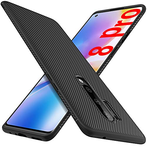 GESMA for Oneplus 8 Pro Case, Scratch Resistant & Anti Slip Grippy Soft TPU Case for Oneplus 8 Pro Phone(NOT FIT with ONEPLUS 8)(Black)