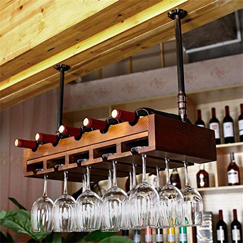 HY-WWK Wandhalterung Für Weinflaschen Und Gläser, Aufbewahrung Für Weinschränke Aus Naturholz Weinregal Wandregal Für Wohnzimmer/Küche/Bar - 64 X 30 cm,Schwarze Walnussfarbe
