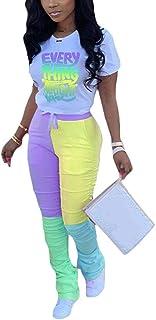 Vakkest Women's 2 Piece Outfit Long Sleeve Color Block Set Stacked Pants Leggings Activewear Jumpsuit