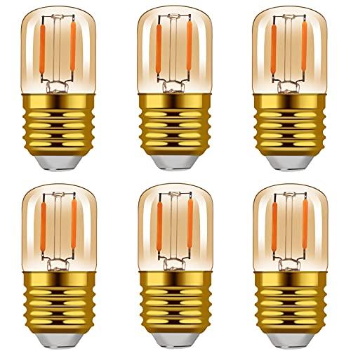 Hcnew LED Filament Glühlampen, E27 1W Warm 2200K 80LM, Entspricht Glühlampen 10W,Bernstein Glühen, Nicht dimmbar Edison-Schraube Leuchtmittel - 6 Stück [Energieklasse A++]