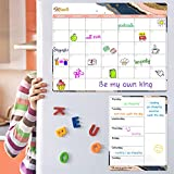Magnetic Calendar for Refrigerator - Fridge Calendar, Magnetic Dry Erase Calendar with Grocery List Magnet Pad, Monthly Calendar Whiteboard, 16.9'x 11.8', Desk & Wall & Fridge Calendar/Planner - Pink