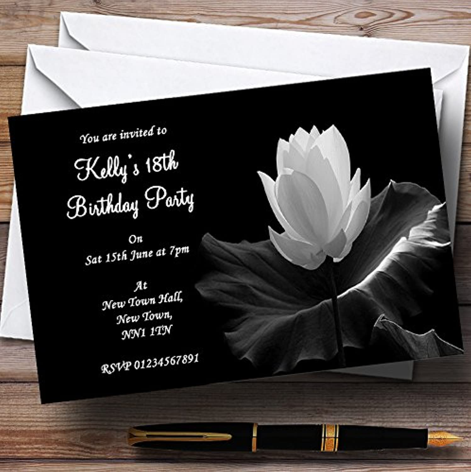 Beautiful Black White Flower Personalised Party Invitations   Invites & Envelopes