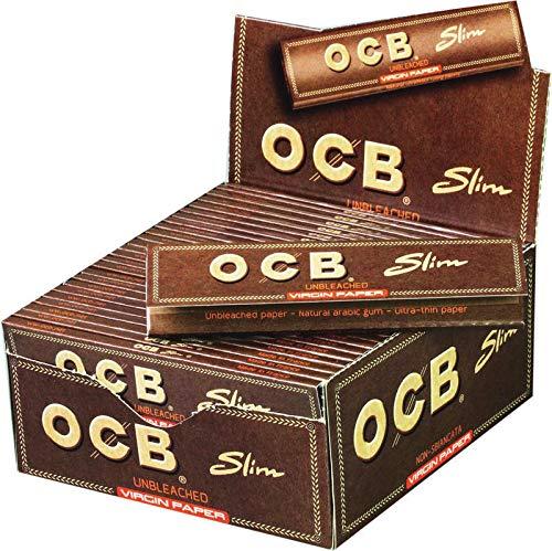 OCB Unbleached Slim Virgin Paper, langes Papier, Braun, 12,5 cm 11,5 cm breit x 5,5 cm hoch