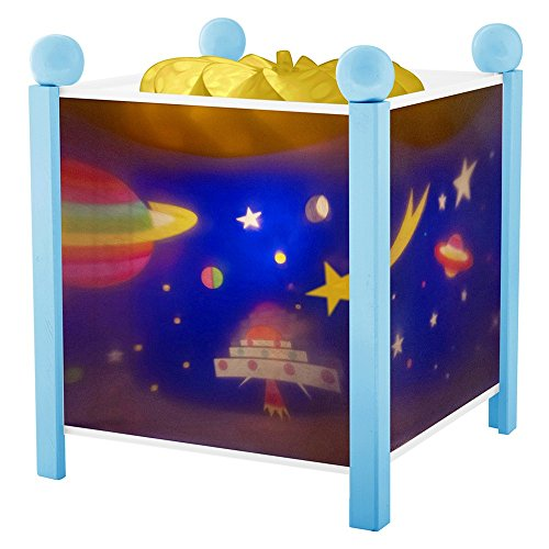 Trousselier - Weltraum - Nachtlicht - Magische Laterne - Ideales Geburtsgeschenk - Farbe Holz blau - animierte Bilder - beruhigendes Licht - 12V 10W Glühbirne inklusive - EU Stecker
