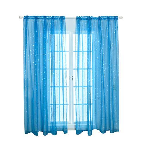 VOSAREA Voile Fenstervorhang Romantische Silberne Sternfolie Fensterbehandlung Glitzer Sterne Gardinen Panel für Mädchen Kinder Schlafzimmer Wohnzimmer- 100 * 270Cm (Blau)