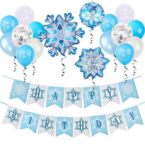 Snowflake Frozen Happy Birthday Banner Balloons Decorations for Girls Birthday Frozen Party Snow Winter Snowflake Wonderland Theme Birthday Party Supplies