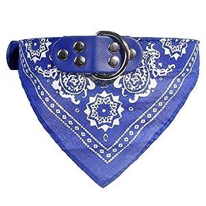 Cdet. 1pc Chien Collier Echarpe Foulard Col Triangle Collier Réglable Motif Paisley pour Animal de Compagnie Bleu