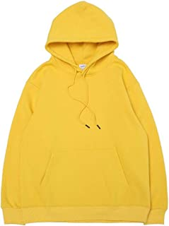 Sweatshirts Europe and The United States Autumn and Winter Hooded Loose Men's Pullover, Solid Color Base Plus Velvet Drawstring Sweatshirt (Color : Yellow, Size : L)